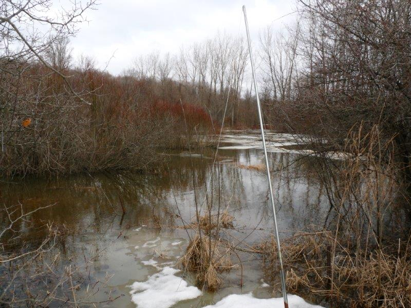 Entering the third week of spring, patches of ice remained on the back ponds, as well as extensive snow cover on land (Photo by Marcel Gahbauer)
